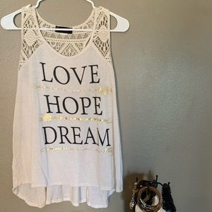"""""""Love Hope Dream"""" Tank with Lace Back"""
